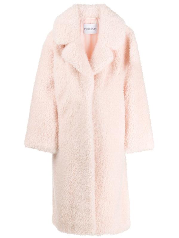 Stand Studio Clara Light Pink Faux Shearling Coat