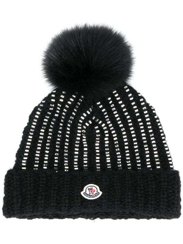 Moncler Crystal-embellished Fur Pompom Beanie In Black