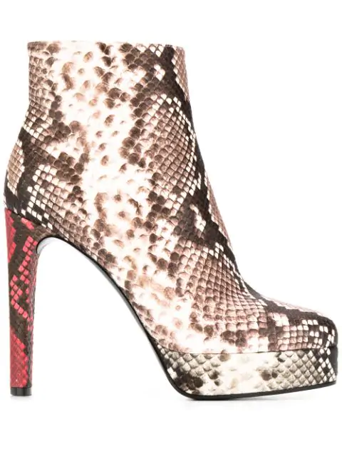 Casadei Multicolor Leather Ankle Boots In Grey