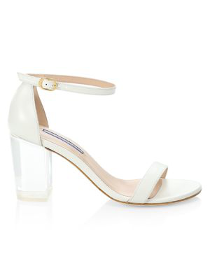 Stuart Weitzman Women's Nearly Nude Transparent Block-heel Leather Sandals In White Smoke