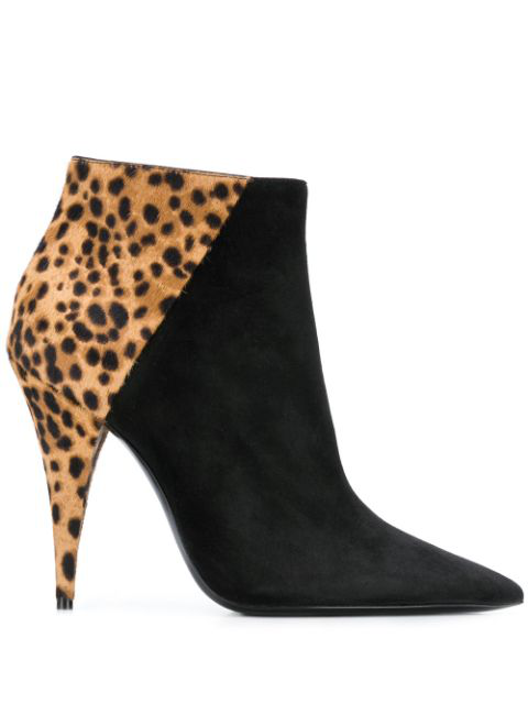 Saint Laurent Kiki Leopard-Print Calf Hair And Leather Ankle Boots In 1094 Nero
