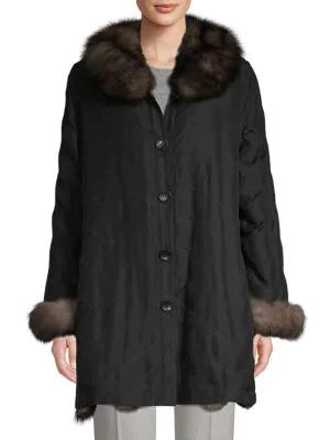 Belle Fare Reversible Fox Fur & Silk Jacket In Black