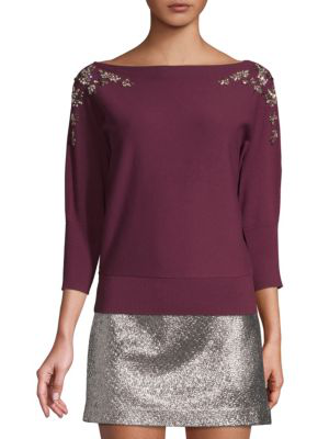 Milly Embellished Boatneck Sweater In Plum