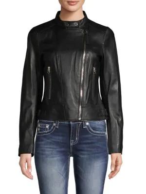 Derek Lam 10 Crosby Tab-collar Leather Jacket In Black