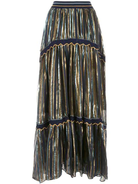 Peter Pilotto Metallic LamÉ Maxi Skirt In Blue