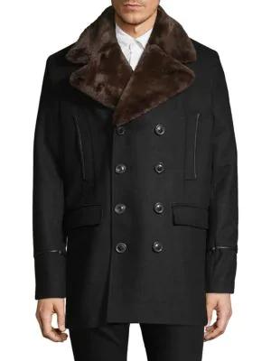 Karl Lagerfeld Faux Fur Lapel Coat In Black