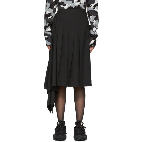 Juun.j Black Asymmetric Pleated Skirt