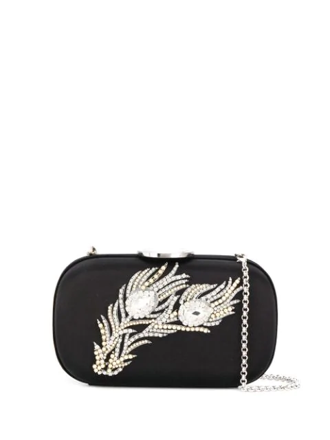 Giambattista Valli Feather Embellished Clutch Bag In Black