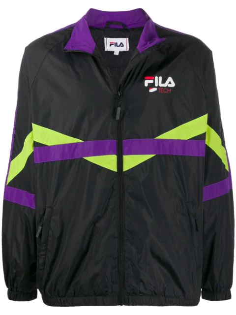 Fila Contrast Stripe Sports Jacket In Black