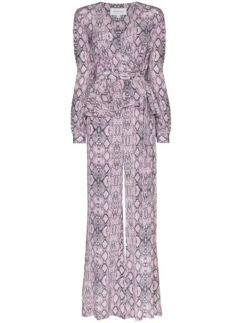 Les Rêveries Snake Print Silk Jumpsuit In Pink