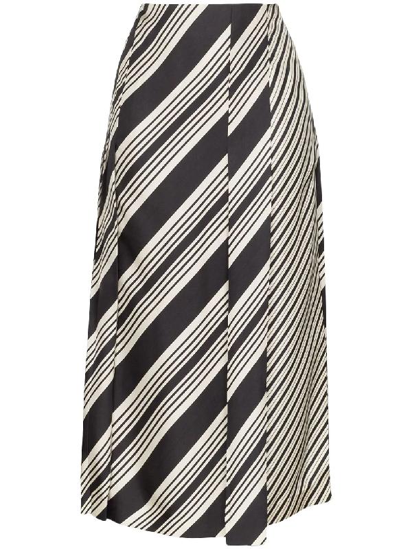 Joseph Carey Diagonal Stripe Skirt In Black