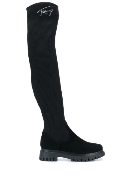 Tommy Jeans Over The Knee Sock Boots In 990 Black