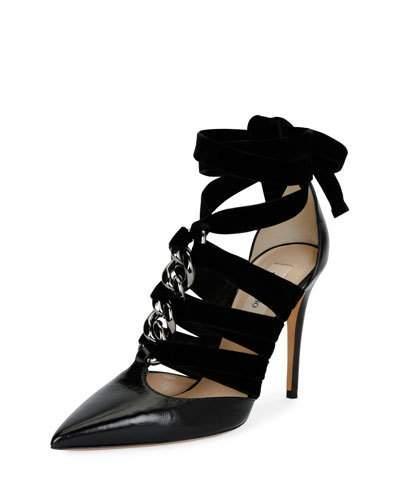 22f2599e7 Valentino Leather & Velvet Rope Ankle-Wrap Pumps In Black   ModeSens
