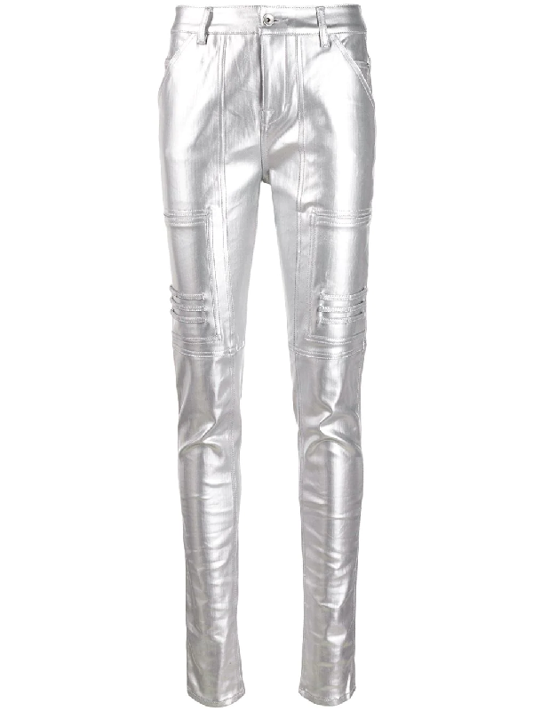 Rick Owens Drkshdw Polished Effect Skinny Trousers In Metallic