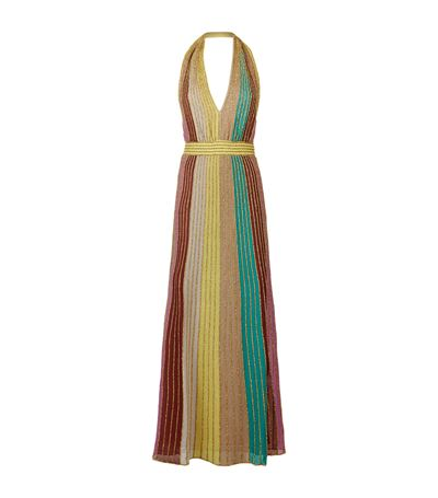 1fb52db4c29d M Missoni Striped Lurex Halter Maxi Dress In Turquoise