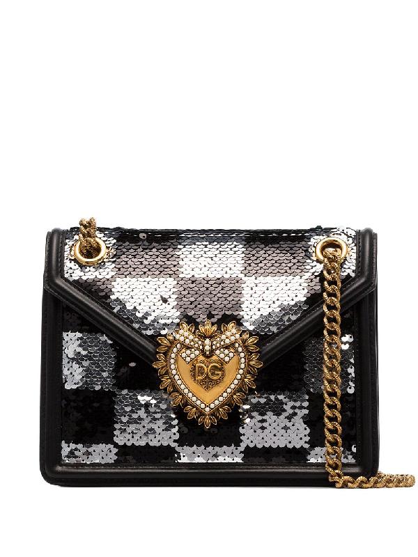 Dolce & Gabbana Devotion Sequin-Embellished Shoulder Bag In Black