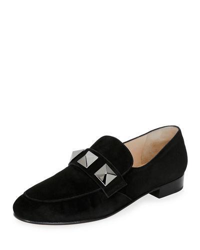 8c83a69e2d6 Valentino Rockstud-Embellished Suede Loafers In Black