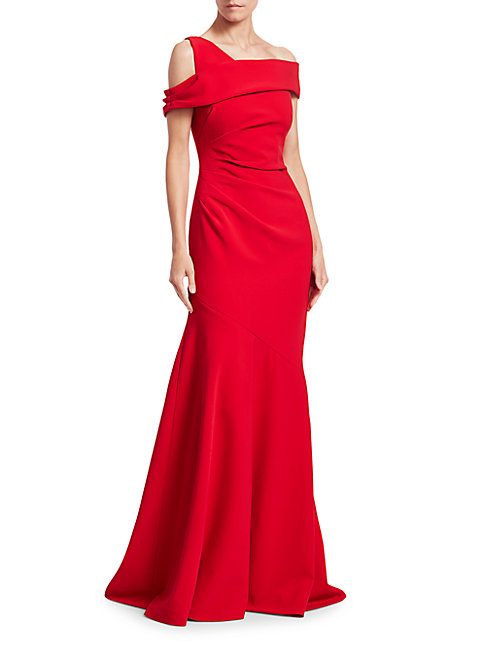 Theia One-shoulder Ruched Crepe Gown In Red