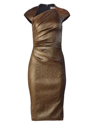 Theia Women's Ruched Metallic Cap-sleeve Sheath In Antique Gold