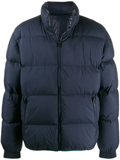 Kenzo Reversible Colour Block Puffer Jacket In Blue