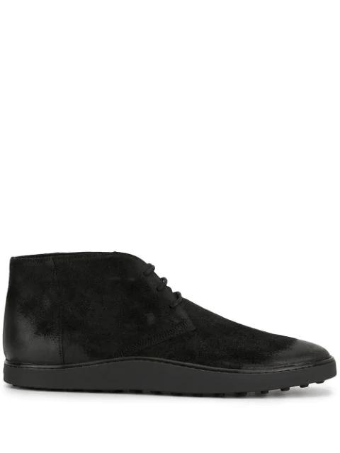 Tod's Split Leather Desert Boots In Black