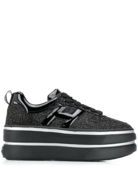 Hogan Glitter Platform Sneakers In Black   ModeSens