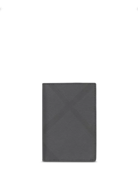 Burberry London Check Folding Card Case In Grey