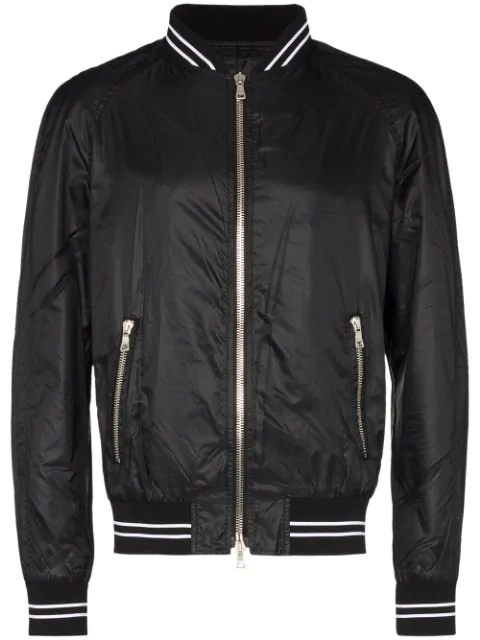 Balmain Teddy Logo Patch Bomber Jacket In Black