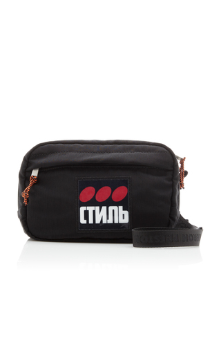 Heron Preston Ctnmb Dotted Nylon Camera Bag In Black