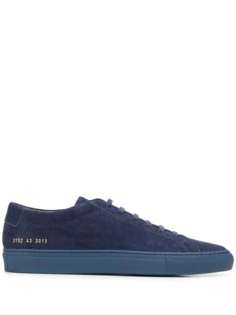 Common Projects Original Achilles Low In Suede Sneakers In Blue