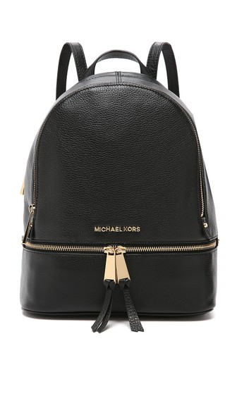 Michael Michael Kors 'Rhea' Small 18K Gold Plated Leather Backpack In Black