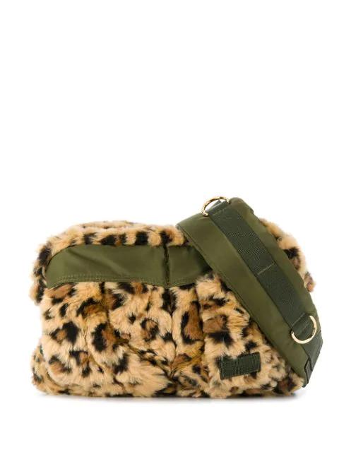 Sacai Leopard Print Faux-fur Belt Bag In 651 Beige