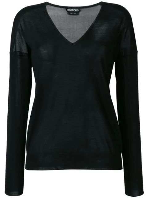 Tom Ford Long-Sleeve V-Neck Cashmere-Silk Top In Lb999
