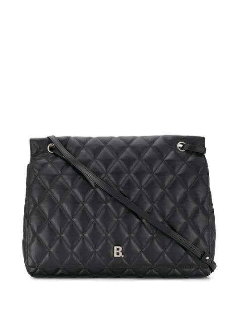 Balenciaga Large B Quilted Shoulder Bag In Black