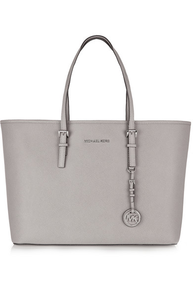 Michael Michael Kors Jet Set Textured-Leather Tote In Gray