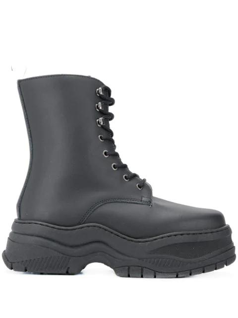 Chiara Ferragni Combat Boots In Black Leather In 001 Black