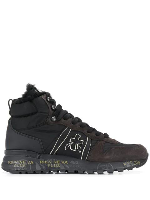 White Premiata Jeff Var High-top Sneakers In Black