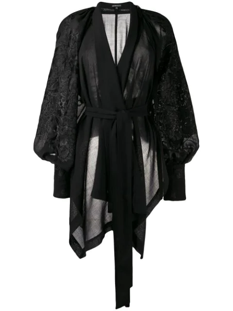 Ann Demeulemeester Embroidered Wrap Top In Black