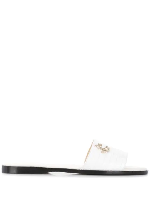 Jimmy Choo Minea Flat Latte Croc-embossed Leather Flat Sandals With Jc Logo In White
