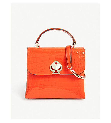 Kate Spade Romy Croc-Embossed Leather Top-Handle Bag In Fire Lily