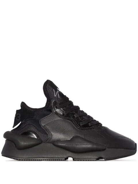 Y-3 Leather And Nylon Kaiwa Sneakers In Black