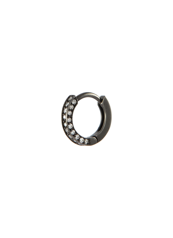 Repossi 'berbère' Diamond 18k Black Gold Mini Single Hoop Earring