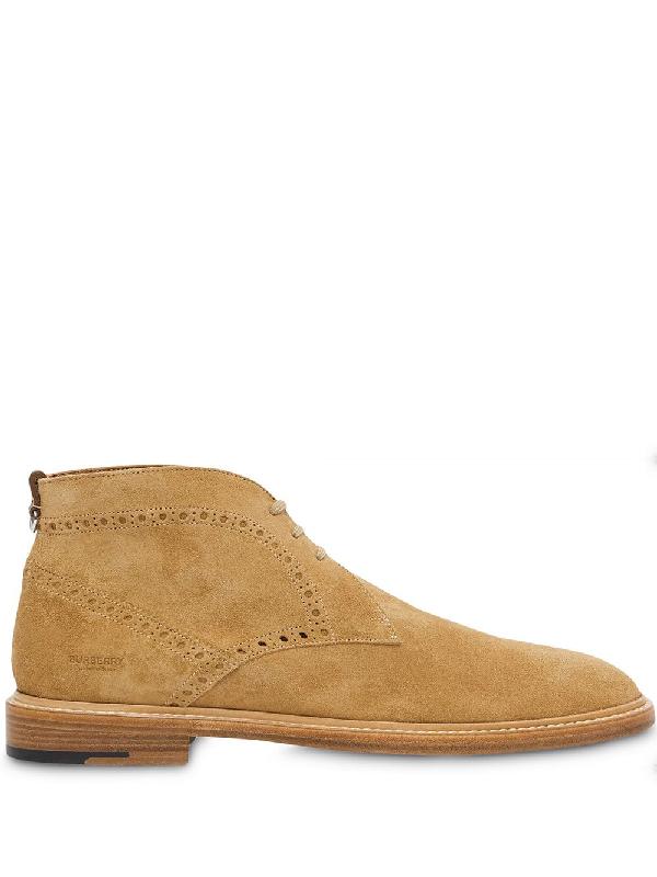 Burberry Men's Barry Brogue Suede Chukka Boots In Sandy Beige