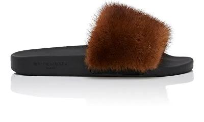 Givenchy Genuine Mink Fur Slide Sandal In Brown