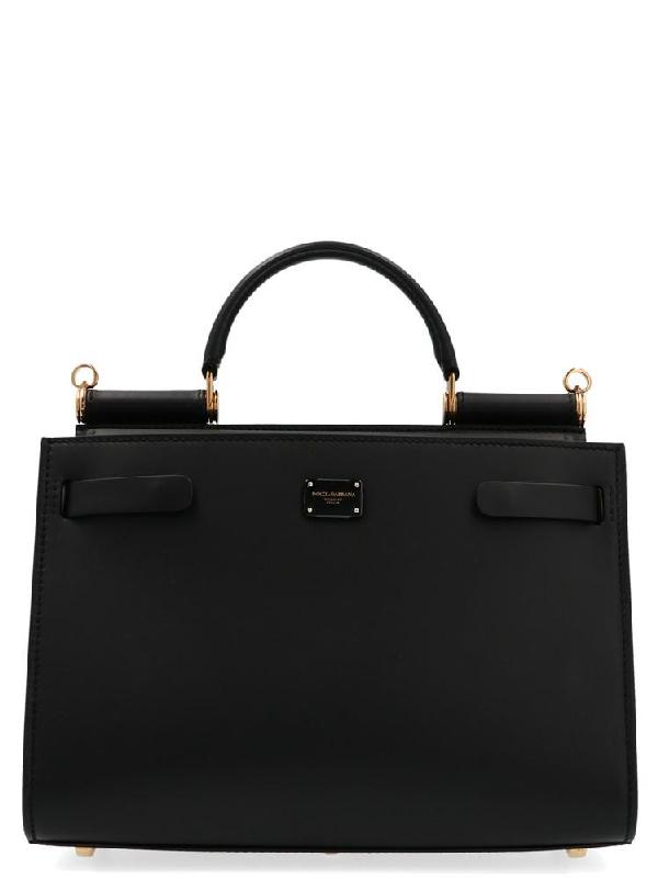 Dolce & Gabbana Small Sicily Top Handle Shoulder Bag In Black