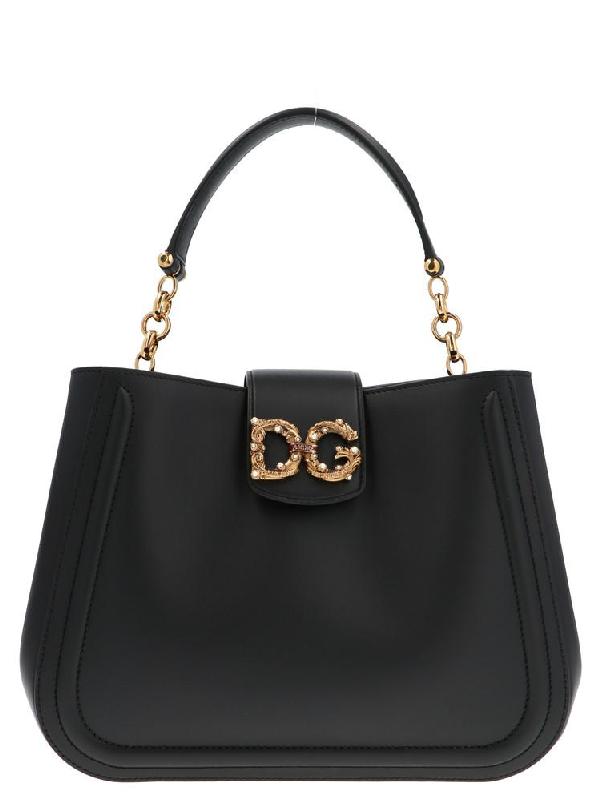 Dolce & Gabbana Dg Logo Embellished Shoulder Bags In Black