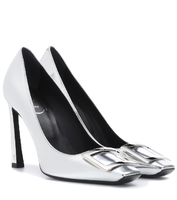 Roger Vivier DÉColletÉ Belle Vivier Trompette Metallic Leather Pumps In Silver