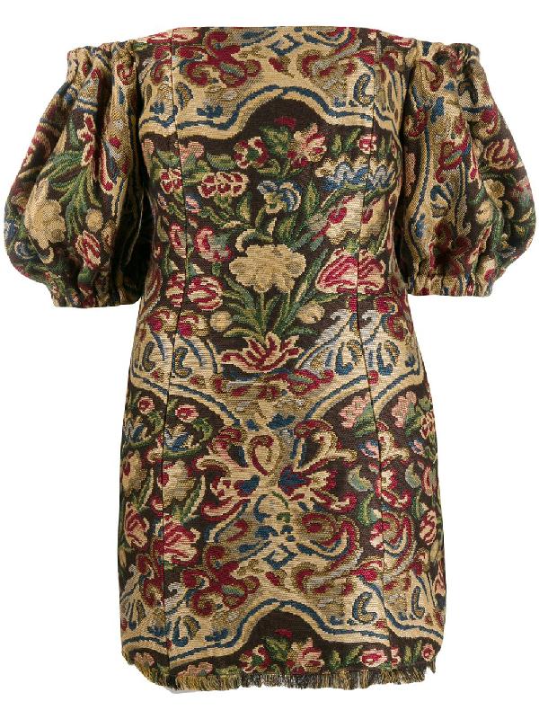 Etro Tapestry Embroidered Mini Dress In 800 Multicolor