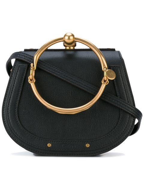 ChloÉ Nile Mixed Leather Bracelet Crossbody Bag In 001 Black