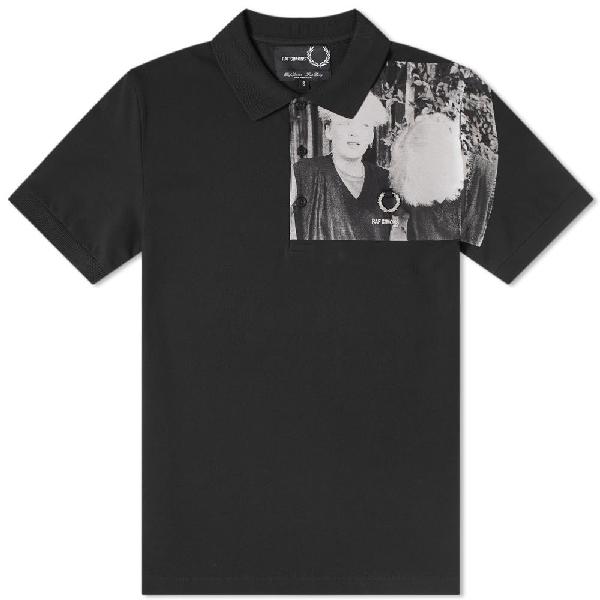 Raf Simons Fred Perry X  Mens Shoulder Print Polo Shirt In Black